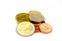 Heap of Euro coins. Isolated on white background Royalty Free Stock Images