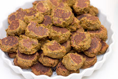 Heap of falafels in large white bowl Royalty Free Stock Images