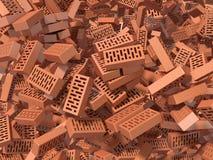Heap of falling, flying, scattered bricks Stock Image