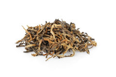Heap of famous dian hong yunnan tea. Isolated on white Royalty Free Stock Images