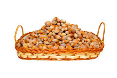 Heap of filberts in wicker basket. Royalty Free Stock Images
