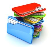 Heap file. On white background (done in 3d stock illustration