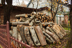 Heap of firewood in a garden in spring. Stock Photo