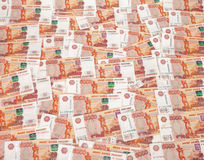 Heap of five thousand russian rubles banknotes. As background Stock Photography