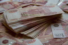 Heap of five thousand russian rubles Stock Photo