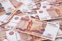 Heap of five thousand russian rubles banknotes. As background Royalty Free Stock Photography