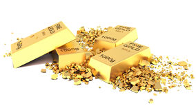 Heap of Flat Golden Bars  on white background Royalty Free Stock Photography