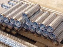 The heap of flexible metal hose taken closeup. Royalty Free Stock Images
