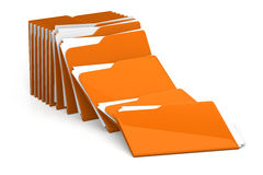 Heap of folders and files - on white background. 3d rendering stock illustration