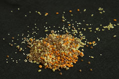 Heap from four different groats: buckwheat, lentil, quinoa, bulg Royalty Free Stock Image
