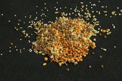 Heap from four different groats: buckwheat, lentil, quinoa, bulg Stock Photo