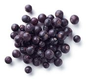 Heap of freeze dried blackcurrants. Isolated on white background. Top view stock images