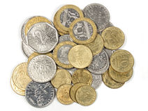 Heap of french francs money coins Stock Photo