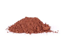 Heap of fresh cacao powder, on white ckground Royalty Free Stock Image