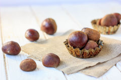 Heap of fresh chestnuts Royalty Free Stock Photos