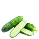 Heap of Fresh Cucumber isolated over white background close up Stock Photo