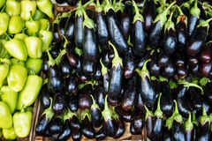 Heap of fresh eggplants close up Royalty Free Stock Images