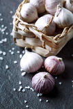 Heap of fresh garlic bulbs on stone Stock Photography