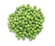 Heap of fresh green peas. On white background Royalty Free Stock Image