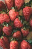 Heap of fresh and organic strawberries as background. Close up view of ripe strawberries.