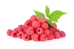 Heap of fresh raspberries. Isolated on white background Stock Photography