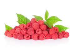 Heap of fresh raspberries. Isolated on white background Stock Photos