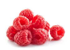 Heap of fresh raspberries. On white Royalty Free Stock Image