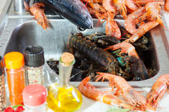 Heap of fresh raw seafoods. And fish at kitchen sink Stock Photos
