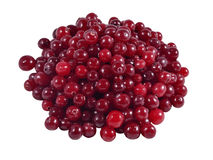Heap of fresh red cranberries. On a white background Royalty Free Stock Photography