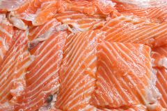 Heap of Fresh sliced salmon Fillet. Closeup of Fresh sliced salmon Fillet using as background Royalty Free Stock Image