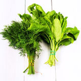 Heap of fresh sorrel and dill on a wooden design white backgroun. Healthy organic heap of fresh vegetables on a wooden design white background Stock Image