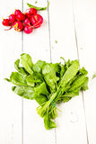Heap of fresh sorrel and radish on a wooden design white backgro. Healthy organic heap of fresh vegetables on a wooden design white background Royalty Free Stock Image