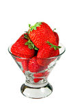 A heap of fresh strawberries in a glass bowl Royalty Free Stock Photography