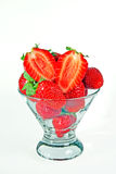 A heap of fresh strawberries in a glass bowl Royalty Free Stock Photos