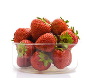 A heap of fresh strawberries in glass bowl. Stock Photography