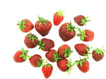 A heap of fresh strawberries on white.Isolated Stock Photos