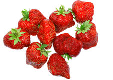 A heap of fresh strawberries on white.Isolated Royalty Free Stock Image
