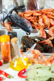 Heap of fresh uncooked sea food specialties Royalty Free Stock Photos