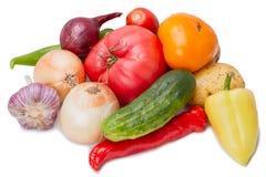 Heap fresh vegetables on white Royalty Free Stock Photos