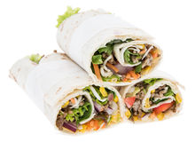 Heap of fresh Wraps on white Royalty Free Stock Images