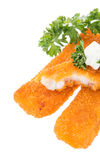 Heap of fried Fish with Remoulade Stock Images