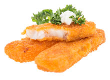 Heap of fried Fish with Remoulade Royalty Free Stock Photo