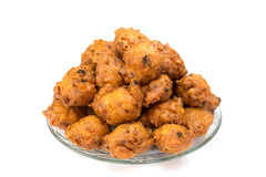 Heap of fried fritters or oliebollen on scale Stock Photography