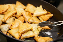 Heap of fried indian samosa Stock Images