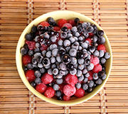 Heap of frozen black currant and cherry in a plate Royalty Free Stock Photography