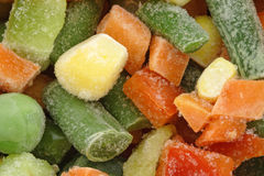 The heap of frozen vegetables. A close-up Stock Images