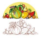 Heap of fruit. Heap of multi-coloured fresh fruit royalty free illustration