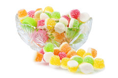 Heap Fruit Candy In Cut Glass Dish Stock Photos