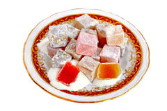 Heap of fruity snacks. Traditional Turkish Delight. Very fresh and sweet cubes Stock Photo