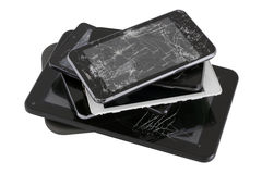 Heap of gadgets with the broken screens Stock Photography
